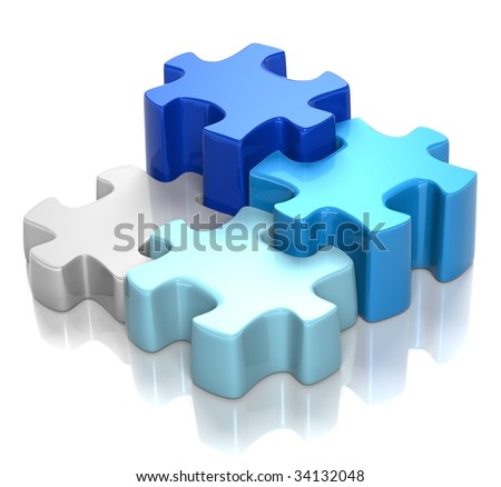 3D rendered illustration of puzzle pieces in shades of blue, coming together, isolated in white background