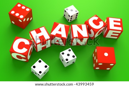 "3D rendered illustration of red, dice-like cubes spelling the word ""chance"" with white letters, on casino green, along some red and white dice randomly placed #43993459"
