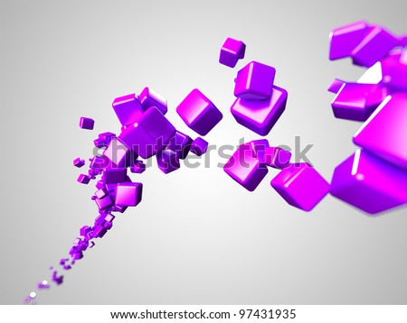 Stock Photo 3d rendered illustration of some floating colorful cubes