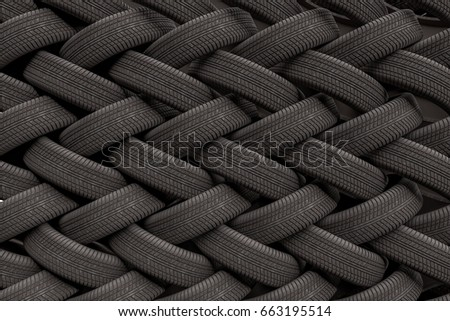 3D rendered illustration of stacked car tires. #663195514