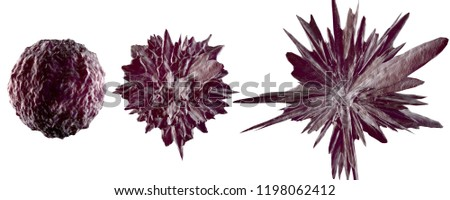 3D rendered Illustration of the microscopic stages of a mutating cancer cell isolated on white.
