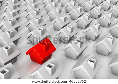 3D rendered illustration of white houses in a row, with a special, red house among them