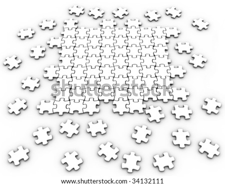 Jigsaw Puzzle Pieces Coming Together White Puzzle Pieces Coming