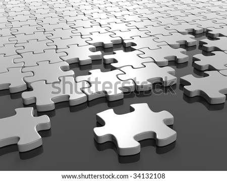 3D rendered illustration of white puzzle pieces coming together, on a gray, reflective surface - stock photo