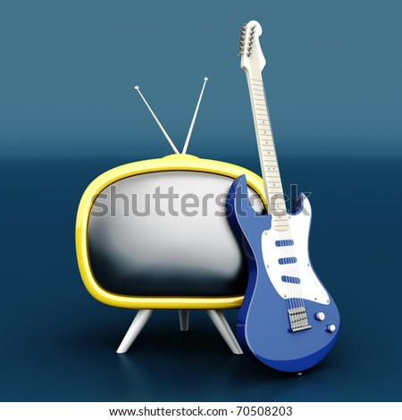 3D rendered Illustration. Retro tube TV with an classic electric Guitar.