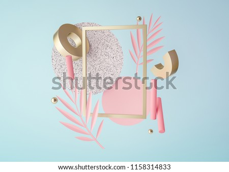 3d rendered illustration with flying geometric shapes and tropical leaves. Trendy background for product design or text presentation.  Spheres, torus, cylinders in pink, blue and gold colors. stock photo