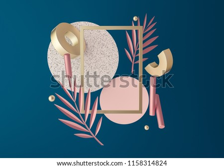 3d rendered illustration with flying geometric shapes, leaves, frame. Trendy background for product design or text presentation.  Spheres, torus, cylinders in dark blue and metallic gold colors.