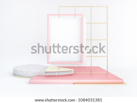 3d rendered illustration with geometric shapes. Pastel colors platforms for product presentation. White paper poster mockup. Abstract composition in modern style.  Minimalist design with empty space.