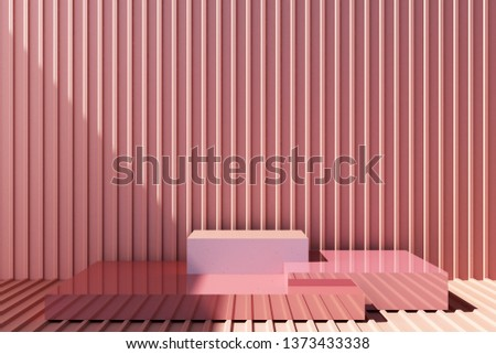 3d rendered illustration with geometric shapes. Pastel pink colors platforms for product presentation. metal sheet background. Abstract composition. Minimalist design with empty space.