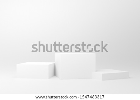 3d rendered illustration with geometric shapes. white three steps cube podium platforms for cosmetic product presentation. Abstract composition in modern style. mock up minimal design with empty space