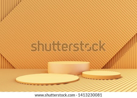 3d rendered illustration with geometric shapes. Yellow colors platforms for product presentation and metal sheet. Abstract composition in modern style. Minimalist design with empty space.