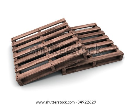 3D rendered image of a wooden shipping pallet