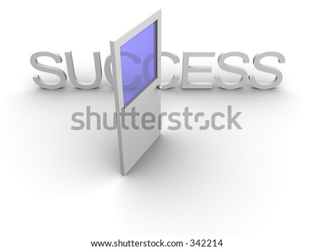 3d rendered image of an open door leading to success.
