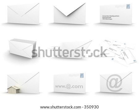3d rendered image of envelopes in different forms.
