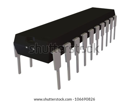 3d rendered image of isolated dual in line DIP20 electronic package
