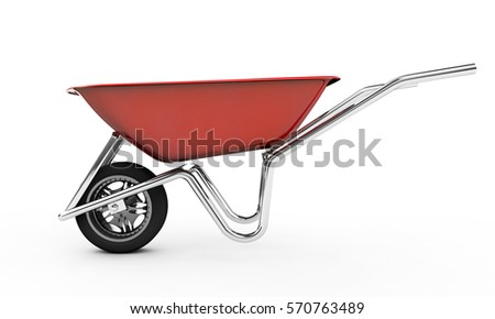 3d rendered image of wheelbarrow on white background #570763489