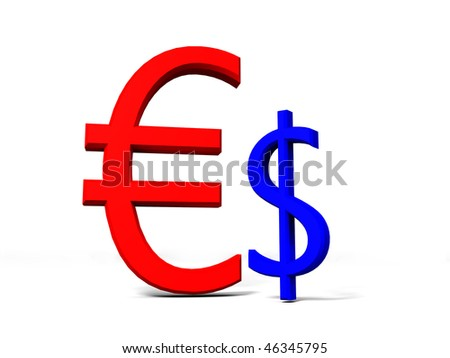 3D rendered image showing that Euro is stronger than the Dollar