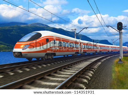 3D rendered image with original design: high speed train driving across mountain scenery with motion blur effect