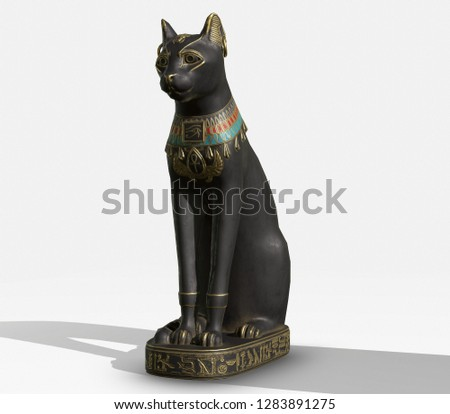 3D rendered images of egyptian cat statue