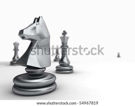 3d rendered images, silver color chessman background.