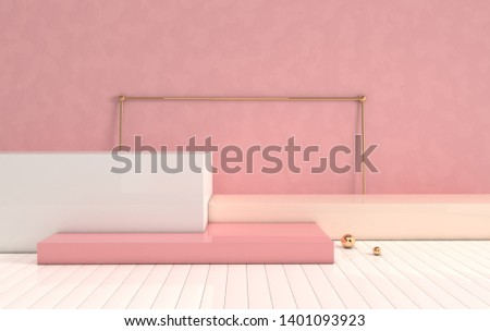 3d rendered interior with geometric shapes, podium on the floor. Set of platforms for product presentation, mock up background. Abstract composition in minimal design. Pastel colors, golden details