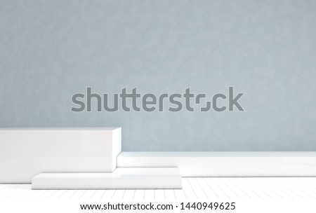 3d rendered interior with geometric shapes, podium on the floor. Set of platforms for product presentation, mock up background. Abstract composition in modern minimal design
