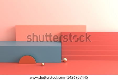 3d rendered interior with geometric shapes, podium on the floor. Set of platforms, stairs for product presentation, mock up background. Abstract composition in minimal design. Pastel colors