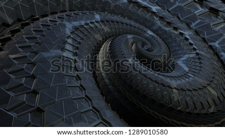 3d rendered intricate fractal like spiral