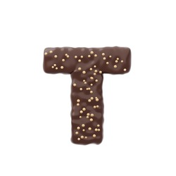 3D rendered letter shaped cake with chocolate icing and nonpareils on top