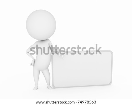 3d rendered little guy with a blank sign