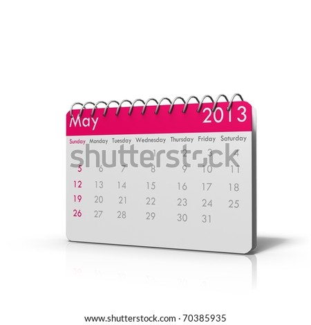 3d rendered Monthly calender of 2013 with spiral on top and rounded corners
