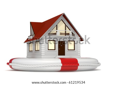 3d rendered nice detailed house sitting on a white lifebuoy representing house insurance - Isolated