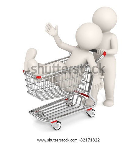 3d rendered people with shopping cart isolated on white background