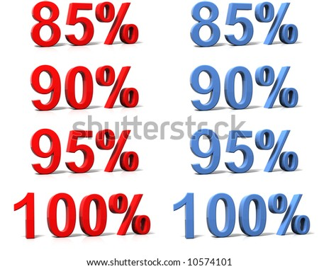 3D rendered percent signs on white background