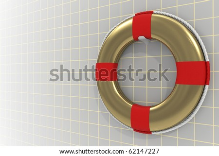 3d rendered photo-realistic gold lifebuoy representing insurace concept