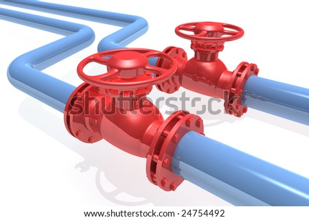 3D rendered pipeline isolated on white background