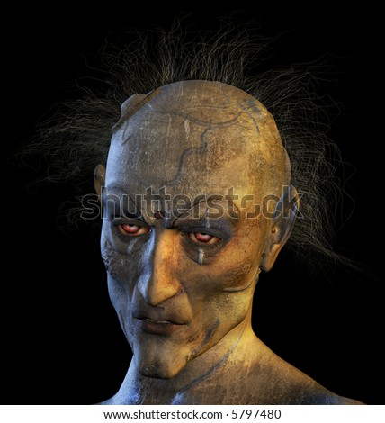 3D rendered portrait of a mutant woman.