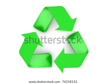 3D rendered recycling symbol. Isolated on white.