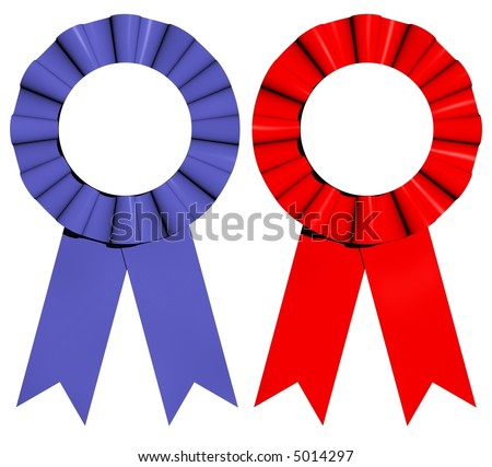 3D rendered red and blue award ribbons isolated on white