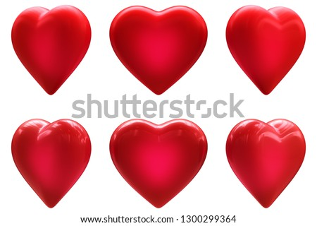 3D rendered red hearts with internal glow from different perspective