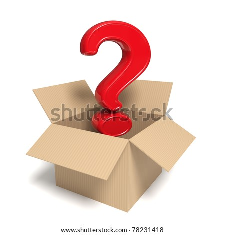 3d rendered red question mark in an open box - Isolated icon