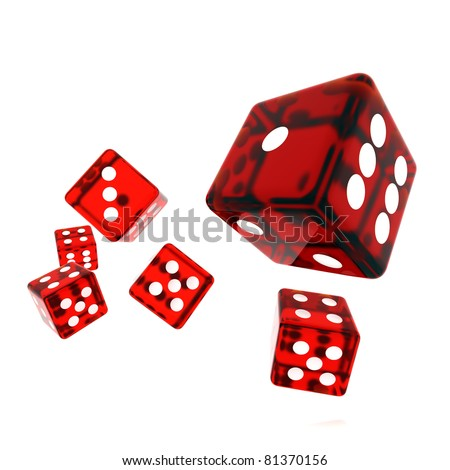 3D Rendered rolling dice on white background