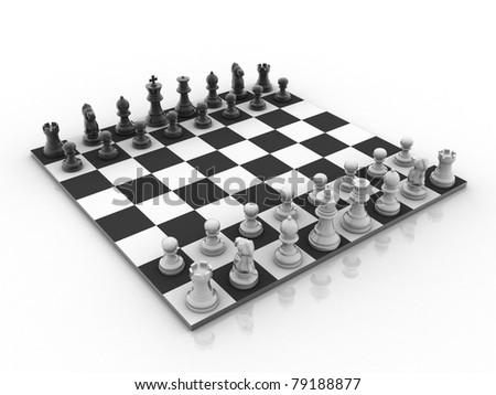 3d rendered Set of chess figures on the playing board