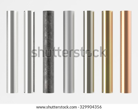 3d rendered shiny metal pipes