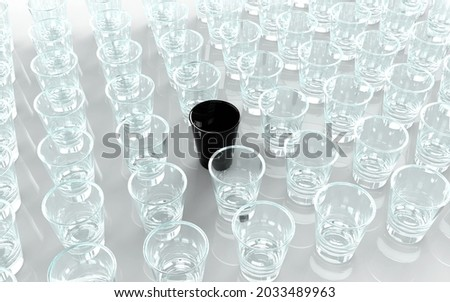 3D rendered shot glass background with clear shot glasses and a single black shot glass in the center all lined up in rows.. 商業照片 ©