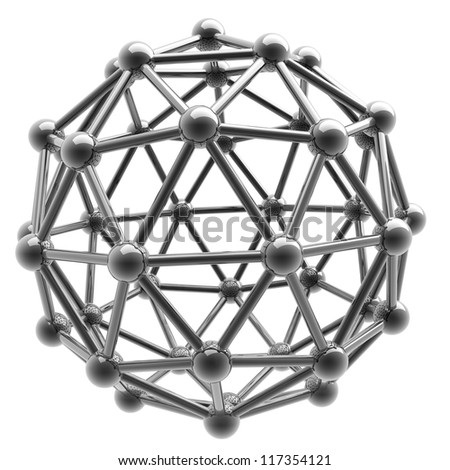 3D rendered silver glossy molecules structure isolated on white background High resolution