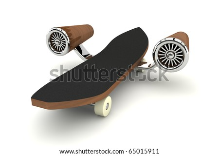 3d rendered skateboard with turbine