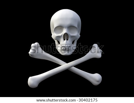 3D rendered skull and bones forming a pirate flag