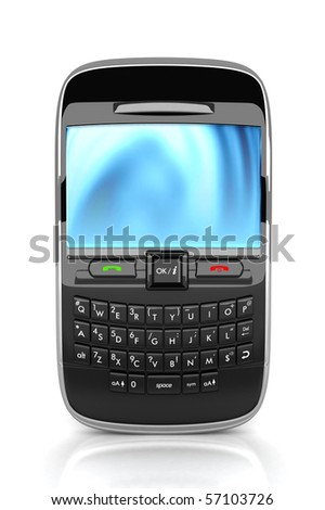 3D Rendered smart phone isolated