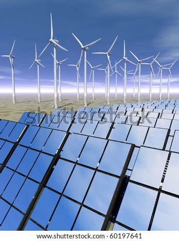 3D rendered solar panels and wind turbines in a desert environment reflecting the blue sky - generating electrical power
